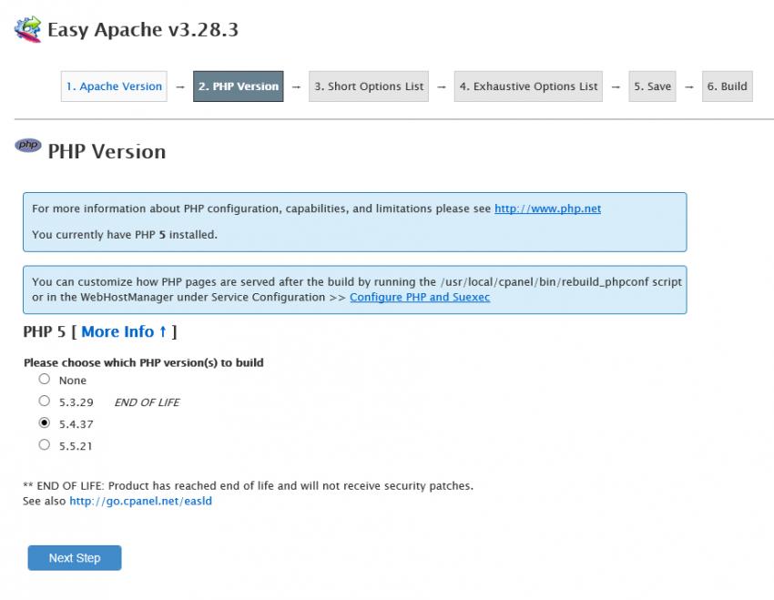 Apache Konfigürasyonu - EasyApache Update WHM
